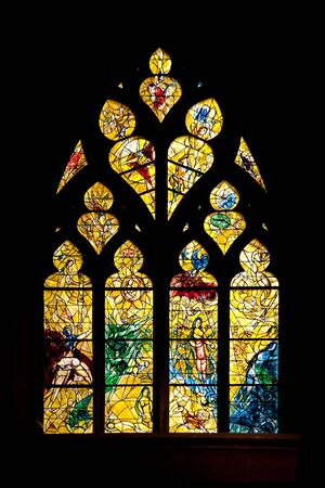 stained glass panel: Stained glass by Marc Chagall in Metz cathedral Stock Photo