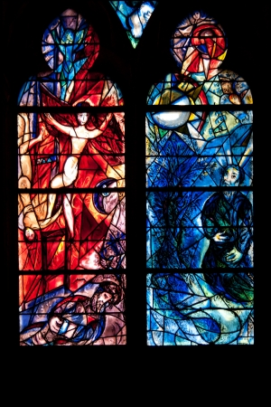marc: Stained glass detail by Marc Chagall in Metz cathedral
