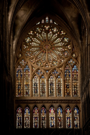 Western rose window by Hermann von Munster in Metz Cathedral photo