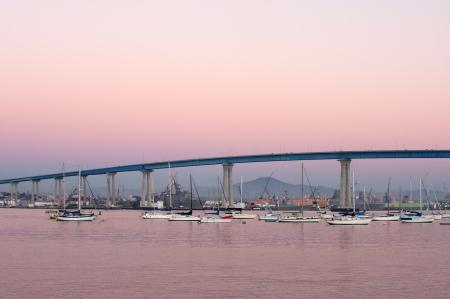Coronado bridge to Coronado island at sunset photo