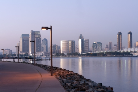 Panorama of San Diego at dusk from Coronado promenade photo