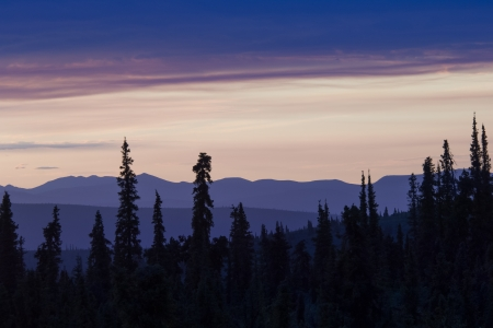 June sunset in the middle of the night in Alaska
