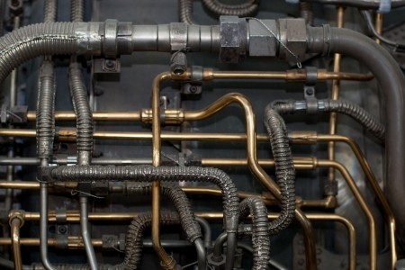 Industrial techno background of aircraft pipes