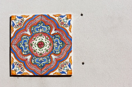 spanish tile: Colorful spanish tile on the wall of St Augustine house