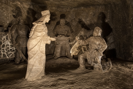 Exquisite figures carved from rock salt in  Wieliczka Salt Mine, Poland