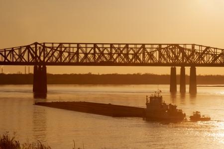 tn: Mississippi river under old railroad bridge in Memphis, TN