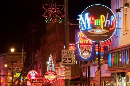 Memphis, USA - November 25th, 2008  Neon signs of world famous blues clubs on historical Beale street  Beale street is a major tourist attraction and a place for blues festivals and concerts
