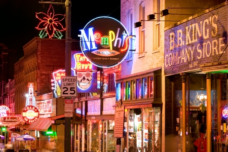 night street: Memphis, USA - November 25th, 2008  Neon signs of world famous blues clubs on historical Beale street  Beale street is a major tourist attraction and a place for blues festivals and concerts