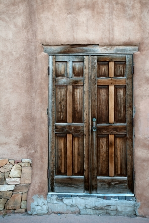 Beautiful wooden door in Santa Fe historic center, New Mexico photo