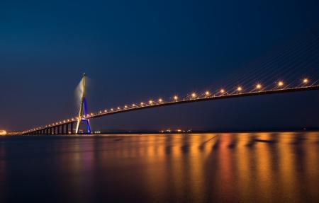 Famous Pont de Normandie spans across river Seine near Le Havre, Normandy