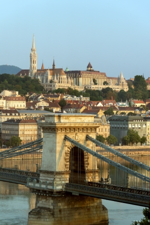 View of Buda and Chain bridge in early morning, Budapest photo