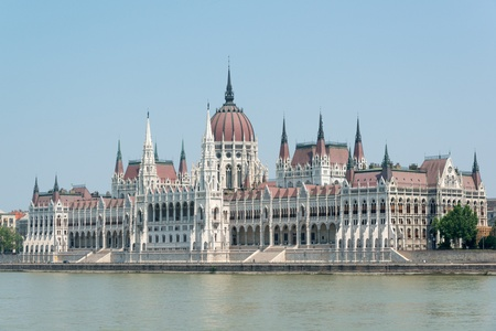 View of Hungarian parliament building with Danube river photo