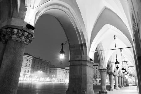 main street: Famous Sukiennice on Main Market Square in Krakow Stock Photo