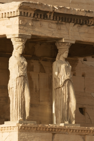 caryatids: Porch of Caryatids in Erechtheion on Acropolis Hill, Athens