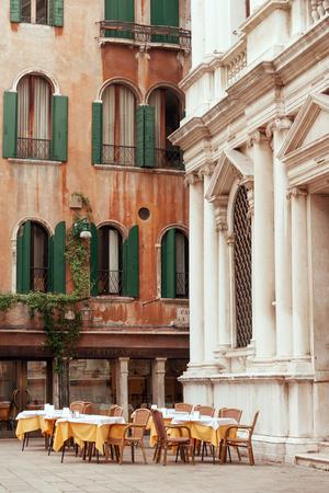 italian fresco: Outside restaurant tables on the Venetian piazza