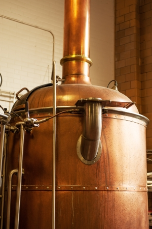 Copper boil kettle in the American brewery Stock Photo
