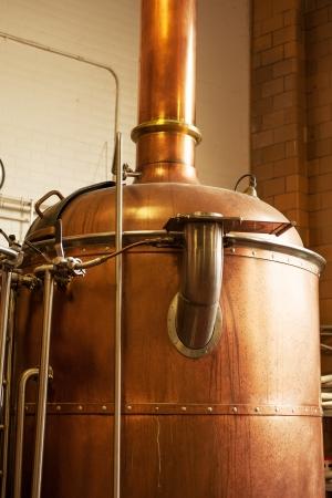 destilacion: Copper Kettle hervir en la cervecería estadounidense