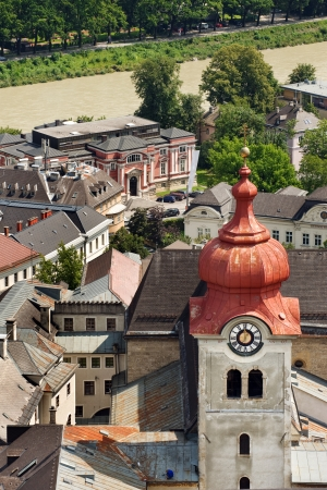 Nonnberg Abbey clock tower from above in  historical Salzburg photo