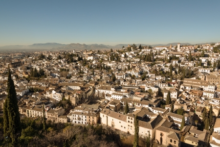 Old buildings in Moorish Albaicin district of Granada photo