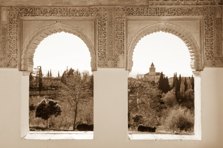 unesco world cultural heritage: Arches of Generalife palace in Alhambra with garden view, Granada Editorial