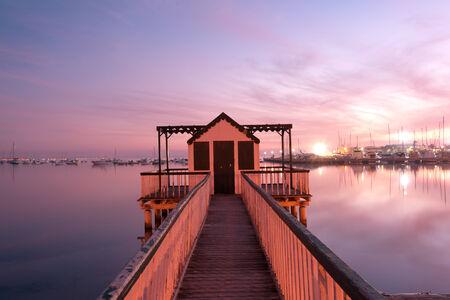 san pedro: Beach cabin on San Pedro del Pinatar coast, Spain at sunset