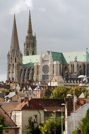 Chartres city panorama with famous Notre Dame cathedral photo