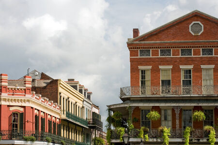 ironwork: Typical houses with exquisite ironwork in French Quarter, New Orleans Stock Photo