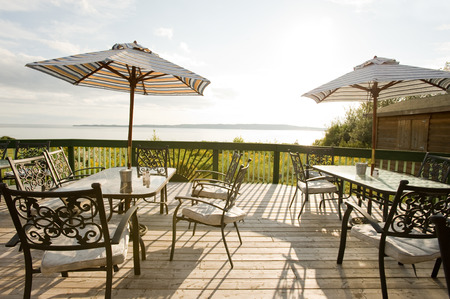 Patio furniture at outdoor cafe, Nova Scotia Stock Photo