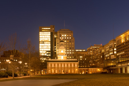 center hall colonial: Historic Independence Square in Philadelphia at night Stock Photo