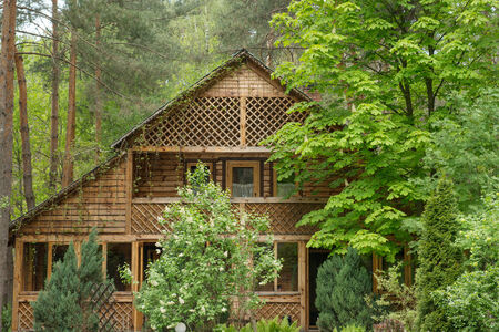 Cozy Wooden House In The Coniferous Forest Stock Photo Picture - Cozy wooden house