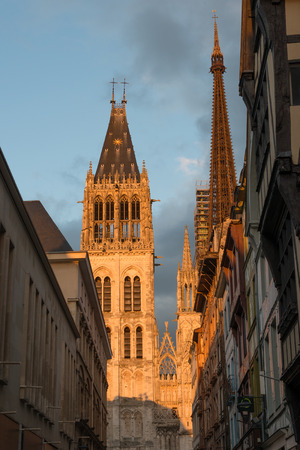 rue:  Rue du Gros Horloge and Rouen Notre Dame cathedral Stock Photo