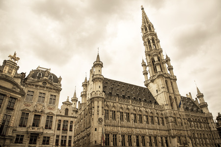 guild halls: Famous Brussels town hall on Grand Place in sepia