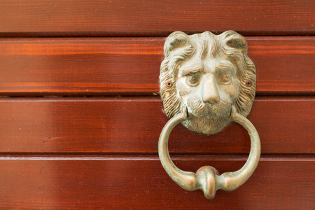 lionhead: Lion door knocker of old Korcula house, Croatia