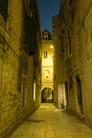adriatic: Narrow street of historic Split old city, Croatia Stock Photo