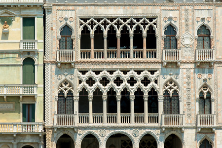 the merchant of venice: Beautiful facade of typical merchant house on Grand canal, Venice