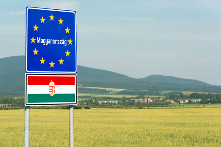 Hungary signpost on the border with Slovakia 免版税图像