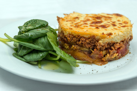 casserole dish: Moussaka, traditional Greek casserole dish of potato, ground meat and aubergine