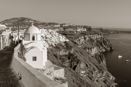 fira: Panoramic view of Fira on Santorini, Greece