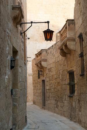 streetlamp: Lantern in ancient narrow street of Mdina, Malta