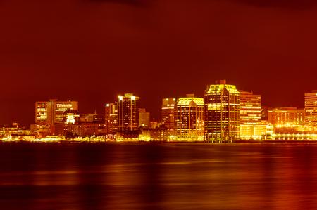 habour: Downtown Halifax nightly panorama across Halifax habour