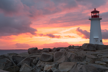 Peggys Point Lighthouse at sunset, Nova Scotia Reklamní fotografie