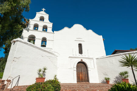 bell tower: Historical mission Basilica San Diego de Alcala, California Stock Photo