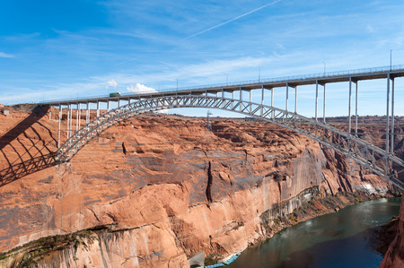 glen: Glen Canyon Dam Bridge over Colorado near Page, Arizona Stock Photo