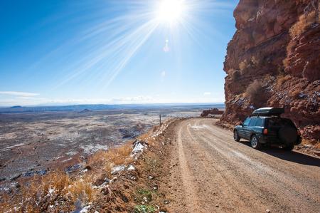 switchback: Moki Dugway, an unpaved dangerous road in south Utah, USA
