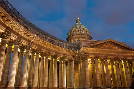 prospect: Famous Kazan Cathedral on Nevsky prospect in St Petersburg, Russia