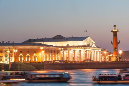 saint petersburg: Old Saint Petersburg Stock Exchange and Rostral Columns Editorial