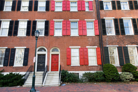 townhouses: Colorful brick townhouses on Washington square, Philly