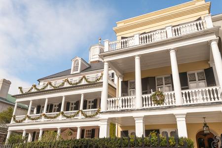 sc: Historic houses along Battery st in Charleston, SC