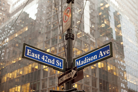 42nd: Corner of 42nd and Madison ave in midtown Manhattan