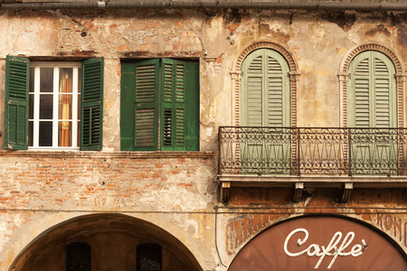 in front: Cafe in the beautiful old building, city of Verona, Italy Stock Photo